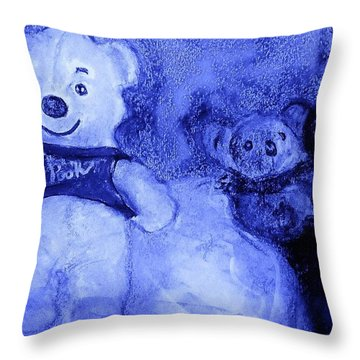 Pooh Bear And Friends Throw Pillow