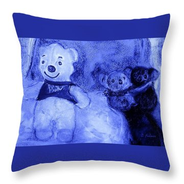 Pooh Bear And Friends Throw Pillow by Denise Fulmer