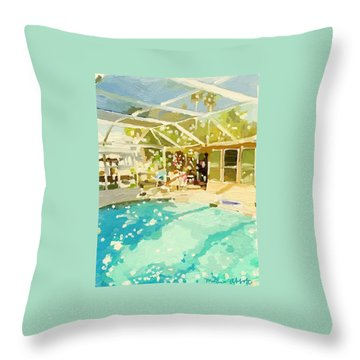Pool And Screened Pool House Throw Pillow