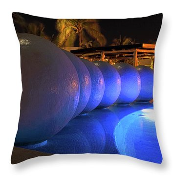 Throw Pillow featuring the photograph Pool Balls At Night by Shane Bechler
