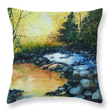 Pool Of Gold Throw Pillow by Lynn Babineau