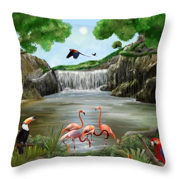 Throw Pillow featuring the digital art Pool Party by Mark Taylor