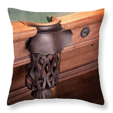 Pool Table Leather Mesh Side Pocket Throw Pillow