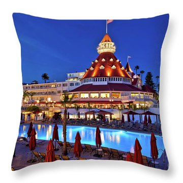 Poolside At The Hotel Del Coronado  Throw Pillow