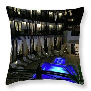 Poolside At The Pearl Throw Pillow by Megan Cohen
