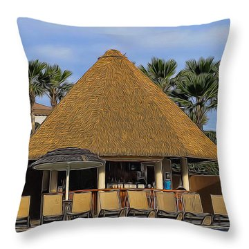 Poolside Drinks Throw Pillow