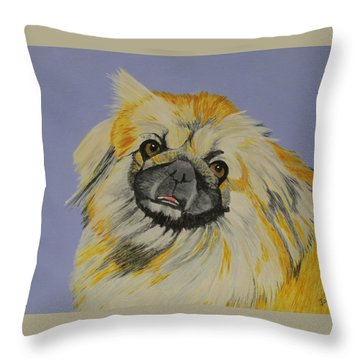 Throw Pillow featuring the painting Poopan The Pekingese by Hilda and Jose Garrancho