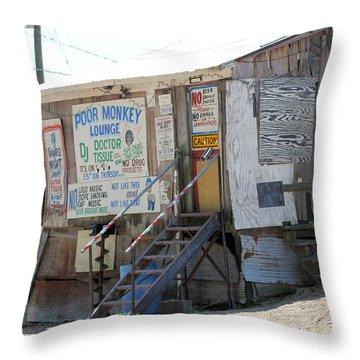 Poor Monkey's Lounge Throw Pillow