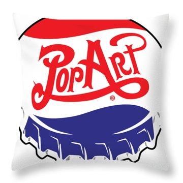 Pop Art Bottle Cap Throw Pillow
