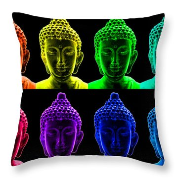 Pop Art Buddha  Throw Pillow by Fabrizio Troiani