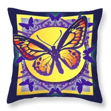 Pop Art Butterfly Throw Pillow