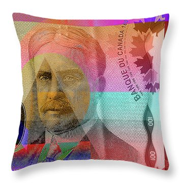 Pop-art Colorized New One Hundred Canadian Dollar Bill Throw Pillow
