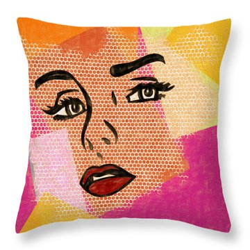 Throw Pillow featuring the mixed media Pop Art Comic Woman by Dan Sproul