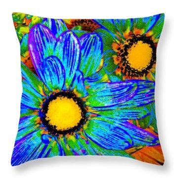 Pop Art Daisies 4 Throw Pillow