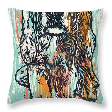 Pop Art Etching Poster - Dog   Throw Pillow