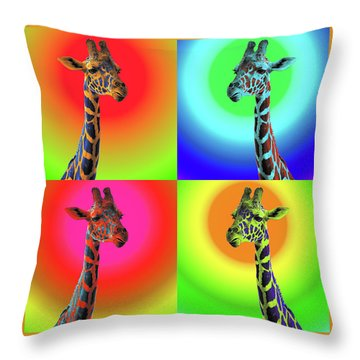 Throw Pillow featuring the photograph Pop Art Giraffe by James Sage