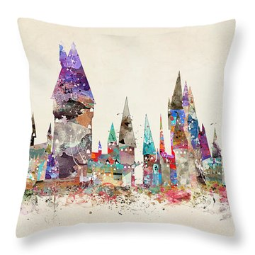 Pop Art Hogwarts Castle Throw Pillow