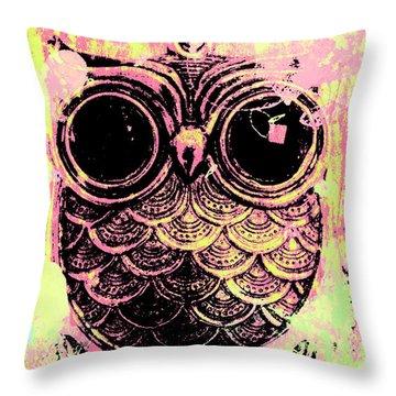 Pop Art Owl Watercolour Throw Pillow