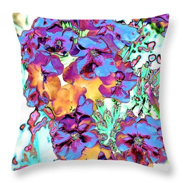 Pop Art Pansies Throw Pillow by Marianne Dow