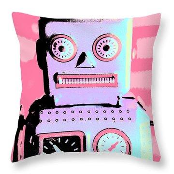 Pop Art Poster Robot Throw Pillow