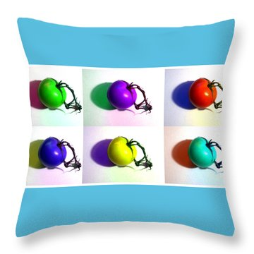 Throw Pillow featuring the photograph Pop-art Tomatoes by Shawna Rowe