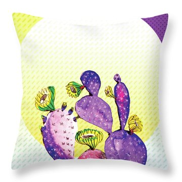 Pop Cacti - Purple Yellow Throw Pillow