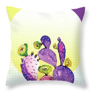 Pop Cacti - Purple Yellow Throw Pillow