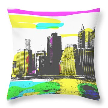 Pop City Skyline Throw Pillow