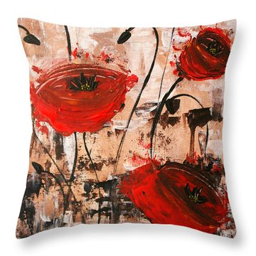 Pop Goes The Poppies Throw Pillow