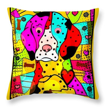 Popart Dog By Nico Bielow Throw Pillow