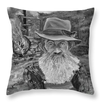 Popcorn Sutton - Black And White - Rocket Fuel Throw Pillow