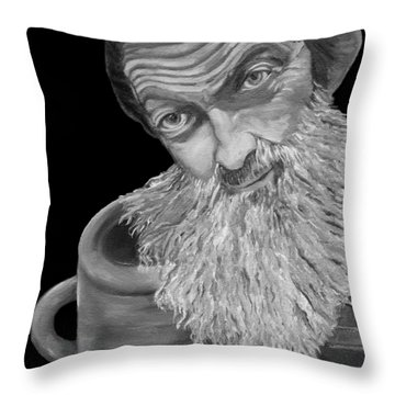 Popcorn Sutton Black And White Transparent - T-shirts Throw Pillow