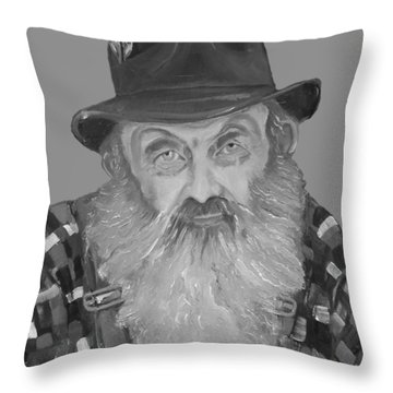 Popcorn Sutton Moonshiner Bust - T-shirt Transparent B And  W Throw Pillow