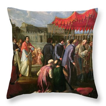 Pope Clement Xi In A Procession In St. Peter's Square In Rome Throw Pillow by Pier Leone Ghezzi
