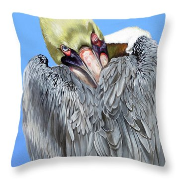 Popeye The Pelican Throw Pillow