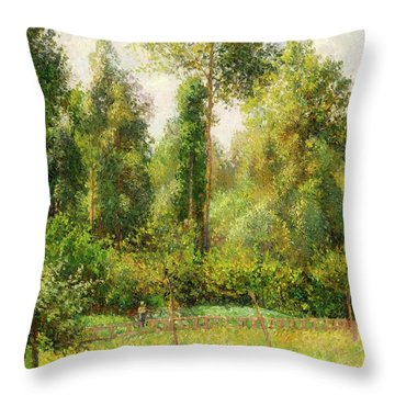 Throw Pillow featuring the painting Poplars - Eragny by Camille Pissaro