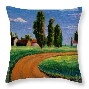 Poplars Throw Pillow by Ushangi Kumelashvili