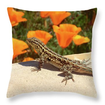 Poplizard Throw Pillow by Suzette Kallen