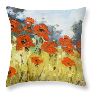 Poppies 3 Throw Pillow