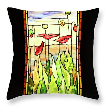 Poppies 1 Throw Pillow by Kristin Elmquist