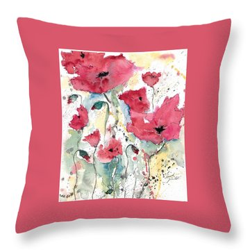 Throw Pillow featuring the painting Poppies 10 by Ismeta Gruenwald