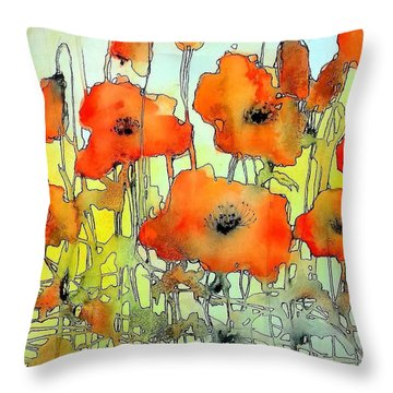 Poppies Abstraction Throw Pillow