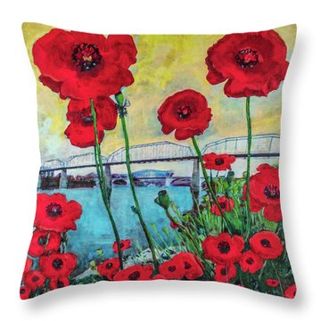 Poppies Along The Riverfront Throw Pillow
