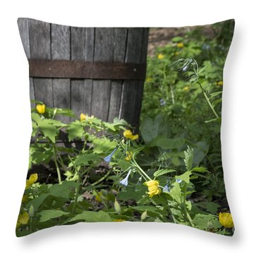 Poppies And Bluebells Throw Pillow