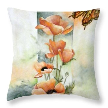 Poppies And Butterfly Throw Pillow by Marti Idlet
