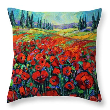 Poppies And Cypresses - Modern Impressionist Palette Knives Oil Painting Throw Pillow