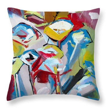 Throw Pillow featuring the painting Poppies And Lunch  by John Jr Gholson