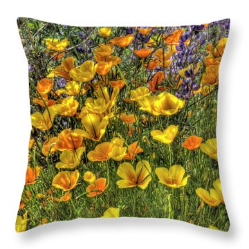Throw Pillow featuring the photograph Poppies And Lupines by Jim and Emily Bush