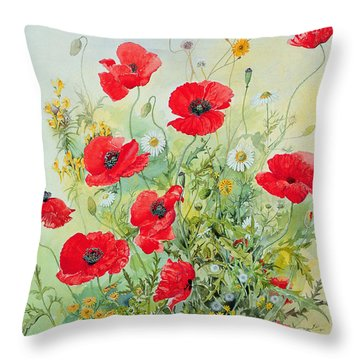 Poppies And Mayweed Throw Pillow