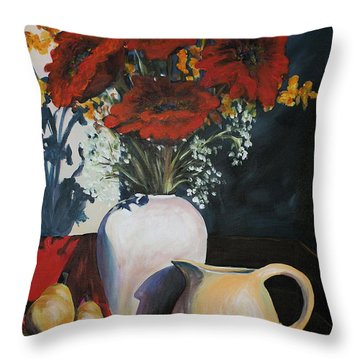 Poppies And Pears Throw Pillow